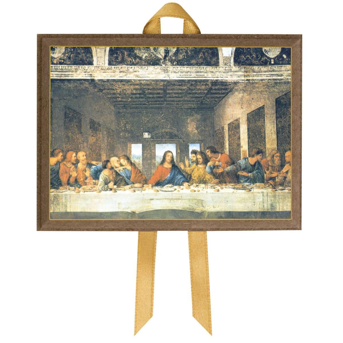 Quadretto tela Ultima Cena di Leonardo da Vinci 11 cm - Holyfamily
